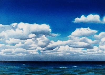 """""""Cottony Clouds"""" original fine art by Jacqueline Gnott, TWSA, WHS"""