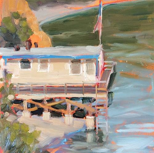 """House Over the Bay"" original fine art by Deborah Newman"