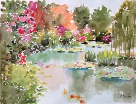 """""""Monet's Garden"""" original fine art by Lisa Fu"""