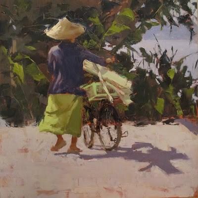 """""""Local transport, Mekong River, Phon Phisai, THAILAND"""" original fine art by Helen Cooper"""