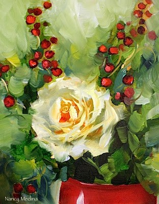 """Rose Berry Love"" original fine art by Nancy Medina"