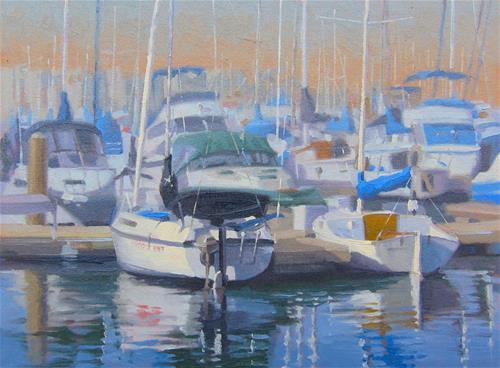"""Moored in Marina del Rey"" original fine art by John White"