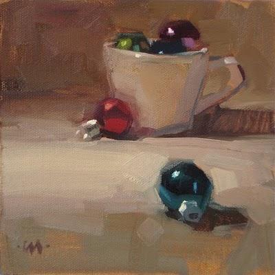 """Cup o' Christmas"" original fine art by Carol Marine"