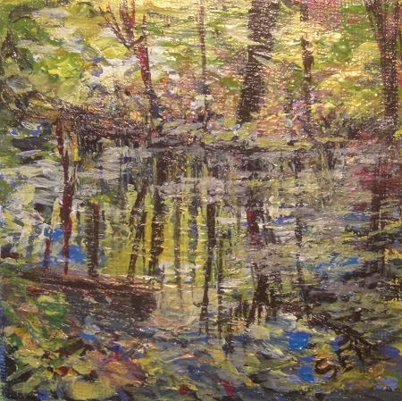 """2101 - Fall Reflections - Mini Masterpiece Series"" original fine art by Sea Dean"
