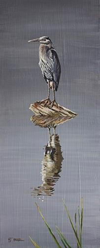 """Original Wildlife Landscape Painting With Birds GRAY SKIES; BLUE HERON by Nancee Jean Busse, Paint"" original fine art by Nancee Busse"
