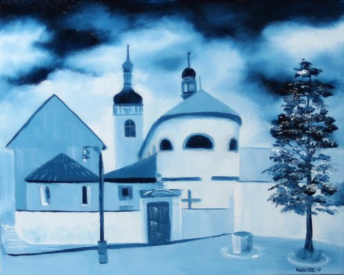 """Mark Webster - St. Wenceslas´ Basilica and St. Clement´s Church in Stará Boleslav, Czech Republic -"" original fine art by Mark Webster"