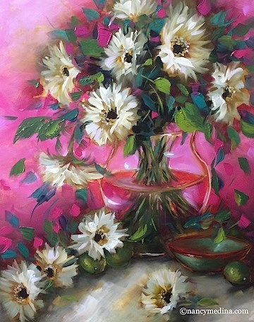 """Cherry Jubilee Daisies and Painting - Flower Paintings by Nancy Medina"" original fine art by Nancy Medina"
