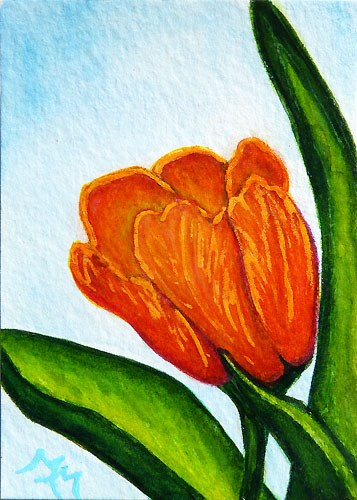 """Orange Tulip - MM04"" original fine art by Monique Morin Matson"
