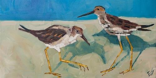 """Sandpipers"" original fine art by Elizabeth See"