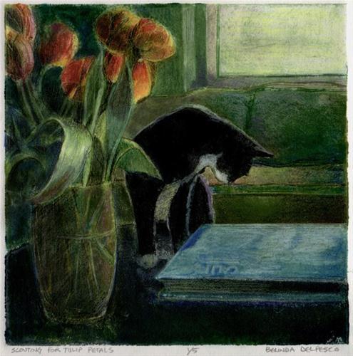 """Collagraph: Scouting for Tulip Petals"" original fine art by Belinda Del Pesco"