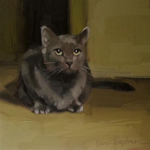 """Look Up painting of gray cat"" original fine art by Diane Hoeptner"