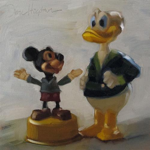 Toy Talk II  vintage mickey and donald original fine art by Diane Hoeptner