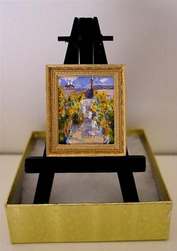 """""""The Artists Garden after Monet — Miniature Painting"""" original fine art by Jamie Williams Grossman"""