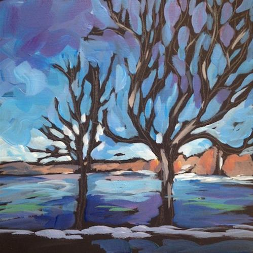 """Two Trees By The Lake"" original fine art by Kat Corrigan"