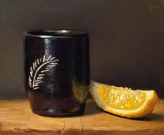 """Chilean Cup with Lemon Wedge"" original fine art by Abbey Ryan"
