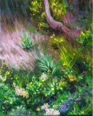 """Flowers in shade"" original fine art by Hilary J. England"