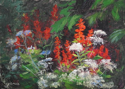 """Cardinal Flowers and Queen Anne's Lace"" original fine art by Jamie Williams Grossman"