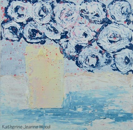 """Blue cottage chic roses floral painting No 99"" original fine art by Katie Jeanne Wood"