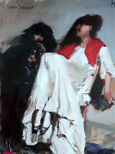 """copy of a Sargent painting ''the sulfur match''"" original fine art by Richard Schiele"