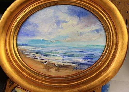 """Oval Seascape"" original fine art by Barbara Haviland"