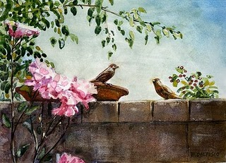 """Watercolors: Back Yard Happy Hour & Perch"" original fine art by Belinda Del Pesco"