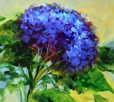 """Sweep Away Blues Hydrangea by Floral Artist Nancy Medina"" original fine art by Nancy Medina"