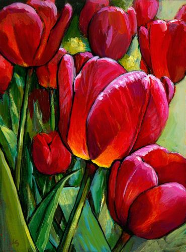 """Red Tulips, Green Leaves"" original fine art by Lesley Spanos"