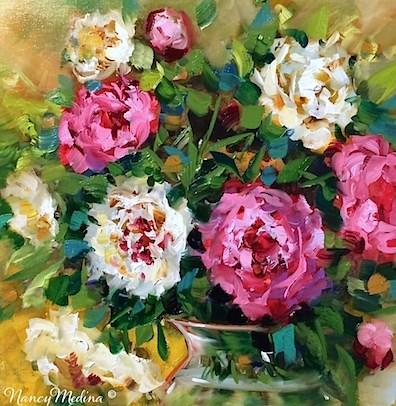"""""""Grand Opening Pink Peonies - Flower Paintings by Nancy Medina"""" original fine art by Nancy Medina"""