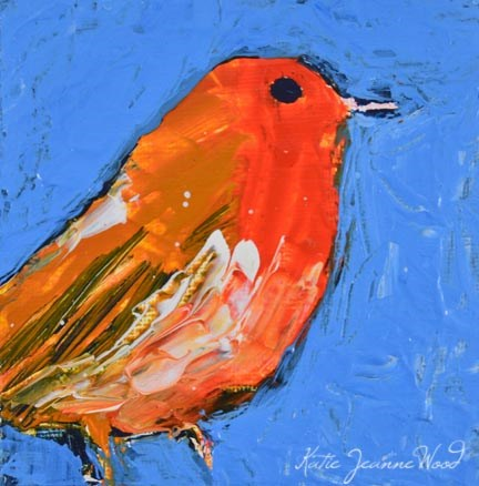 """American robin bird painting No 36"" original fine art by Katie Jeanne Wood"
