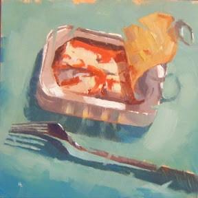 """SARDINES IN TOMATO SAUCE"" original fine art by Helen Cooper"