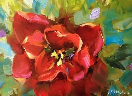 """Ragdoll Red Tulip by Texas Flower Artist Nancy Medina"" original fine art by Nancy Medina"