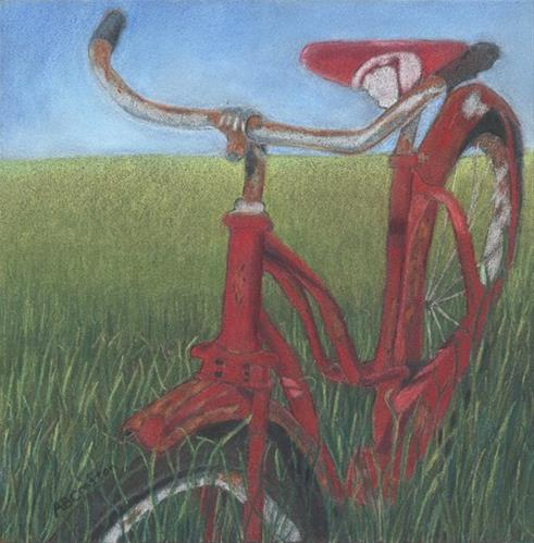 """Carole's Bike"" original fine art by Arlene Crafton"
