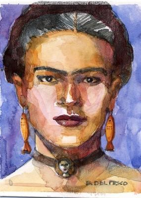 """Watercolor portrait: Frida Wearing Fishes"" original fine art by Belinda Del Pesco"