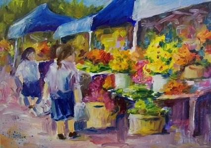 """""""Saturday Morning Farmer's Market"""" original fine art by Alice Harpel"""