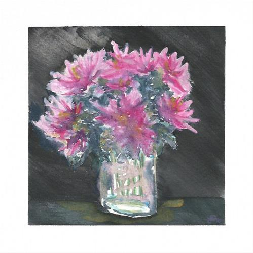 """Peonies in Vase"" original fine art by Laura Denning"