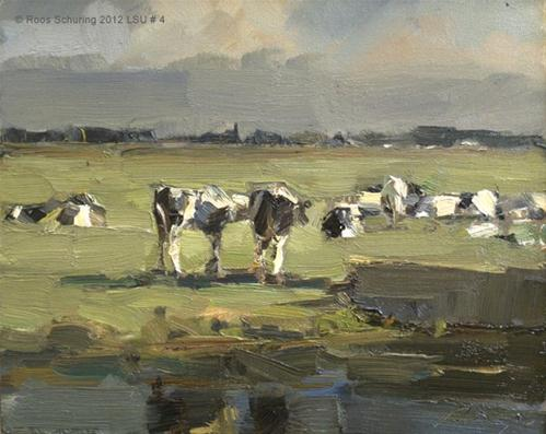 """Landscape summmer #4 Cows in sunlight - Koeien"" original fine art by Roos Schuring"