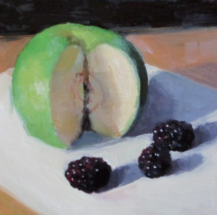 """Bramley and blackberries"" original fine art by Liz Balkwill"