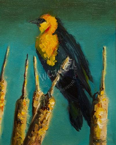 """BLACK BIRD CATTAIL OIL PAINTING ORIGINAL D WHITEHEAD ARTOUTWEST"" original fine art by Diane Whitehead"