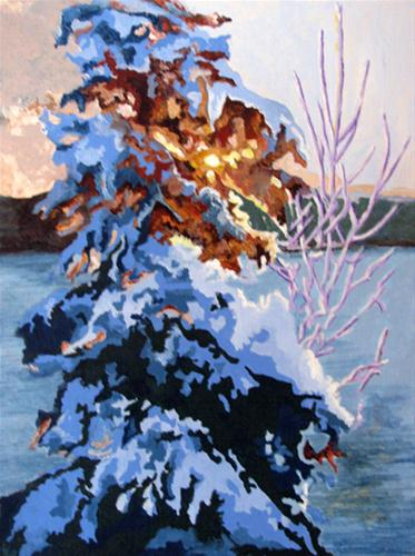 """Winter Sunrise"" original fine art by Nan Johnson"
