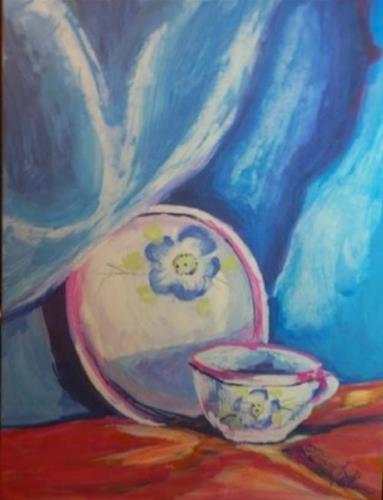 """""""MOTHER'S LOVE, 5 x 7 gouache, still life"""" original fine art by Donna Pierce-Clark"""