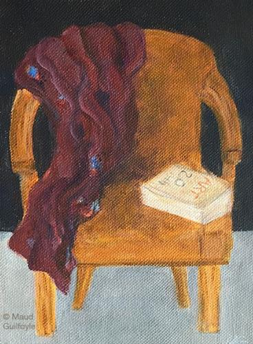 """Homage a Lucian Freud, Model's Chair"" original fine art by Maud Guilfoyle"