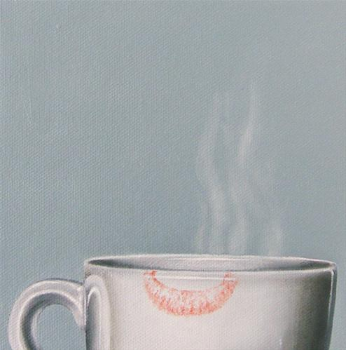 """Coffee Study: Lipstick II"" original fine art by Jelaine Faunce"