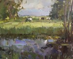 """Painting Cows in Light, Water and shades"" original fine art by Roos Schuring"