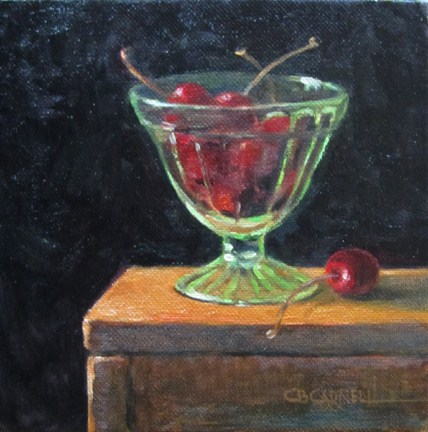 """CHERRIES AND DEPRESSION GLASS An Original Oil Painting by Claire Beadon Carnell Thirty Paintings in"" original fine art by Claire Beadon Carnell"