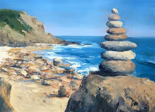 """""""Mohegan Bluffs Cairn"""" original fine art by Whitney Knapp Bowditch"""