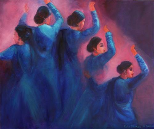 """Indian The Kathak Dancers-1"" original fine art by Asha Shenoy S"