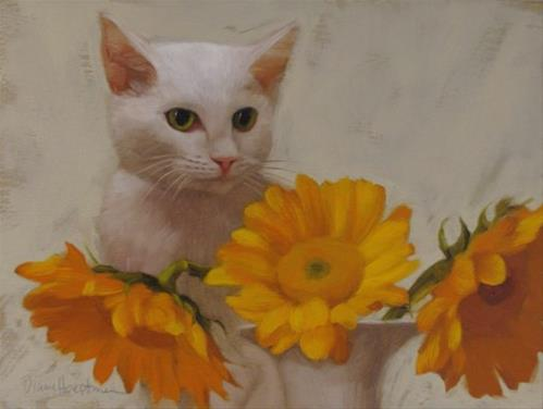 """Ivory Sees painting of white cat behind sunflowers"" original fine art by Diane Hoeptner"
