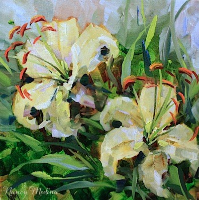 """Day by Day Lilies and a Flower Painting Workshop by Texas Artist Nancy Medina"" original fine art by Nancy Medina"