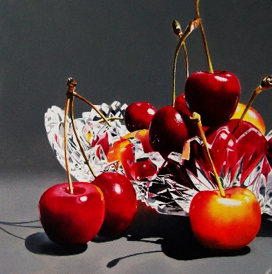 """Cherries in Crystal Bowl"" original fine art by Jacqueline Gnott, whs"