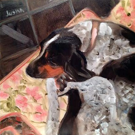 """Coon-Dog Sleeping"" original fine art by Elaine Juska Joseph"